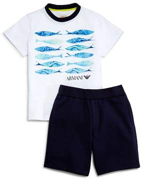 Armani Junior Boys' Fish Tee & Shorts Set - Little Kid, Big Kid