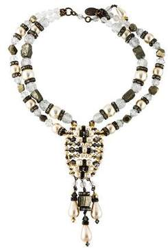 Erickson Beamon Faux Pearl, Pyrite & Crystal Double Strand Necklace