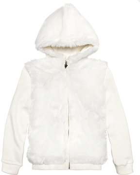 GUESS Faux Fur Hooded Jacket, Big Girls (7-16)