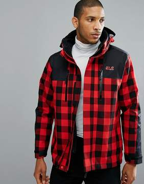 Jack Wolfskin Timberwolf 3 in 1 Jacket in Red Check