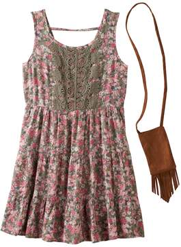 Knitworks Girls 7-16 Crochet Front Tiered Floral Dress with Crossbody Purse