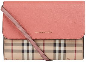 Burberry Small Loxley Leather and Haymarket Check Cross Body Bag - RED - STYLE