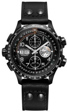 Hamilton Men's Khaki Aviation X-Wind Automatic Chronograph Leather Strap Watch, 44Mm