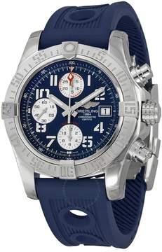 Breitling Avenger II Chronograph Automatic Blue Dial Blue Leather Men's Watch