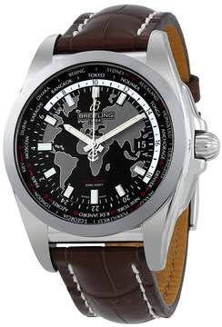 Breitling Galactic Unitime Black Dial Dark Brown Leather Men's Watch WB3510U4-BD94DBRCT