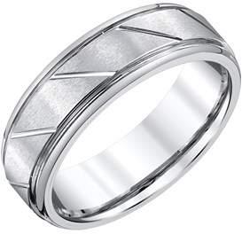 Armani Exchange Jewelry Mens 7mm White Tungsten Wedding Band.