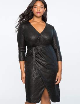 ELOQUII Studio Sequin Wrap Dress
