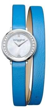 Baume & Mercier Petite Promesse 10288 Diamond, Stainless Steel & Wraparound Leather Strap Watch