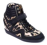 Roberto Cavalli Womens Leopard Print Wedge Leather Sneakers.