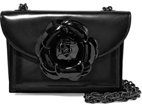 Oscar de la Renta Floral-appliquéd Leather Shoulder Bag - Black