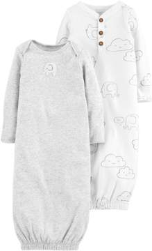 Carter's Baby Boys 2-pk. Elephant Gowns 3 Month Grey/white