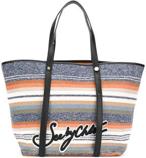 See by Chloe striped logo shopper