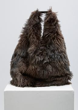MM6 Maison Margiela black/grey synthetic fur bag