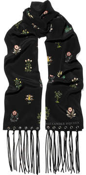 Alexander McQueen Faux Leather-trimmed Floral-print Silk Crepe De Chine Scarf - Black