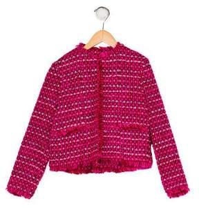 Oscar de la Renta Girls' Bouclé Frayed Jacket