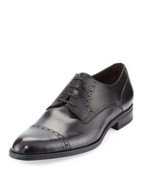 Ermenegildo Zegna Leather Cap-Toe Derby Shoe, Black