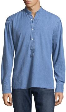Michael Bastian Men's Band Collar Denim Pull-Over Shirt