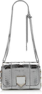 Jimmy Choo LOCKETT PETITE Steel Metallic Ostrich Leg Shoulder Bag