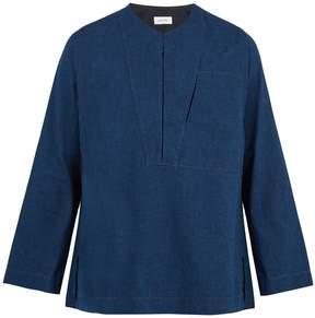 Lemaire Collarless cotton-denim shirt