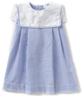 Edgehill Collection Little Girls 2T-4T Square-Neck Embroidered Seersucker Dress
