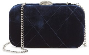 Nina Barlow Quilted Velvet Minaudiere - Blue