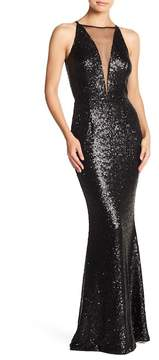 Dress the Population Brenda Mesh Inset Sequin Dress