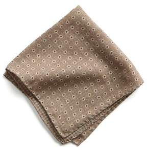 Todd Snyder Italian Wool Pocket Square in Light Brown Circle