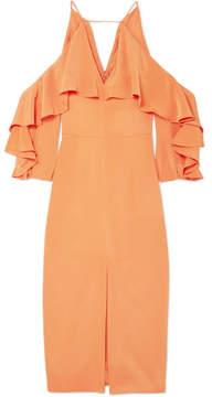 Cushnie et Ochs Cold-shoulder Ruffled Silk Midi Dress - Papaya