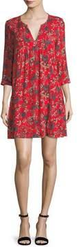 BA&SH Ever Floral-Print Split-Neck Shift Mini Dress