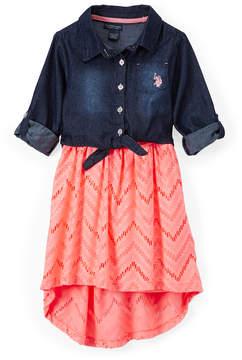 U.S. Polo Assn. Neon Light Coral & Denim Hi-Low Dress - Toddler
