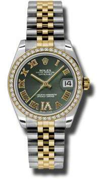 Rolex Datejust Lady 31 Olive Green Dial Stainless Steel and 18K Yellow Gold Jubilee Bracelet Automatic Watch