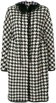 Ermanno Scervino houndstooth fur collar coat