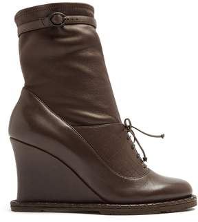 Bottega Veneta Intrecciato-panel leather ankle boots