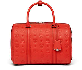 MCM Essential Boston Bag In Monogrammed Leather