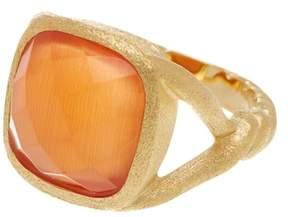 Rivka Friedman 18K Gold Clad Cushion Cut Orange Cat's Eye Crystal Twisted Shank Satin Ring