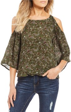 Copper Key Floral Printed Cold Shoulder Bell Sleeve Peasant Top