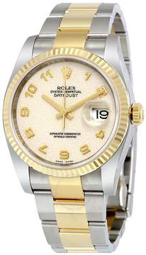 Rolex Oyster Perpetual Datejust 36 Ivory Dial Stainless Steel and 18K Yellow Gold Bracelet Automatic Men's Watch