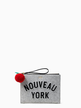 Kate Spade Nouveau york medium bella pouch - LIGHT CHARCOAL - STYLE