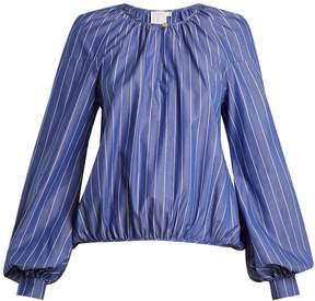 Stella Jean Round-neck striped cotton blouse
