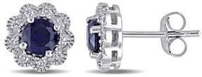 Laura Ashley Diamond And Created Sapphire Stud Earrings.