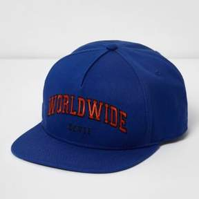 River Island Mens Blue 'worldwide' snapback flat peak cap