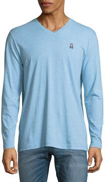 Psycho Bunny Men's Heathered Cotton Long-Sleeve Shirt