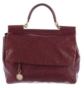 Dolce & Gabbana Miss Sicily XL New Messenger Bag - BURGUNDY - STYLE
