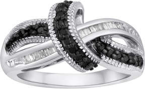 Black Diamond FINE JEWELRY 1/4 CT. T.W. White and Color-Enhanced Sterling Silver Swirl Ring