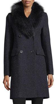 Fleurette Double-Breasted Long-Sleeve Wool Coat w/ Fox Fur