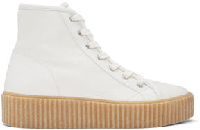 MM6 MAISON MARGIELA White Sheepskin High-Top Sneakers