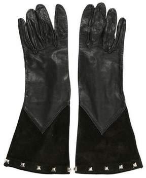 Saint Laurent Embellished Suede-Trimmed Gloves