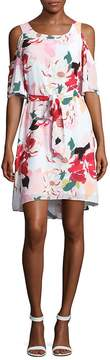 Donna Ricco Women's Belted Floral Cold Shoulder Dress