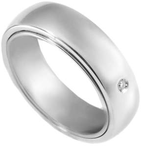 Damiani Orbital 18K White Gold & 0.02ct Diamond Band Ring Size 7.0
