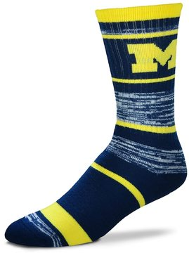 For Bare Feet Adult Michigan Wolverines RMC Stripe Crew Socks